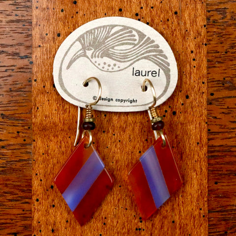 Vintage Laurel Burch Lucite Diamond Gold-Plate Dangles