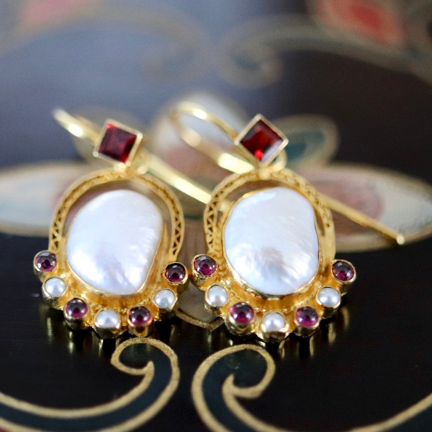 Sotherby 14k Gold, Pearl and Garnet Earrings