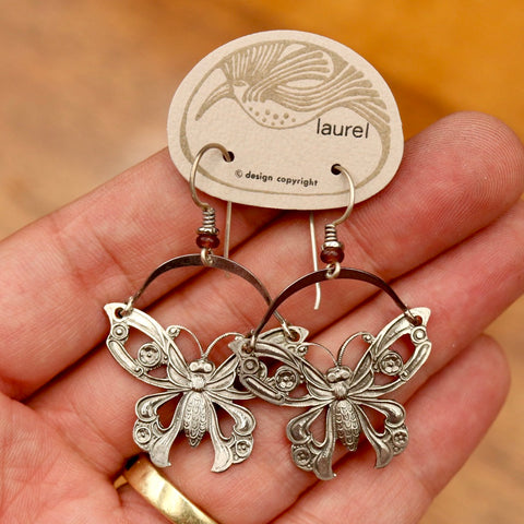 Vintage Laurel Burch Articulating Butterfly Silver-Plate Earrings