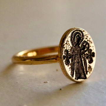 Virgin and Child Byzantine Ring - Gold