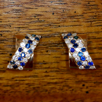 Ribbon 14k Gold, Sapphire and Diamond Earrings