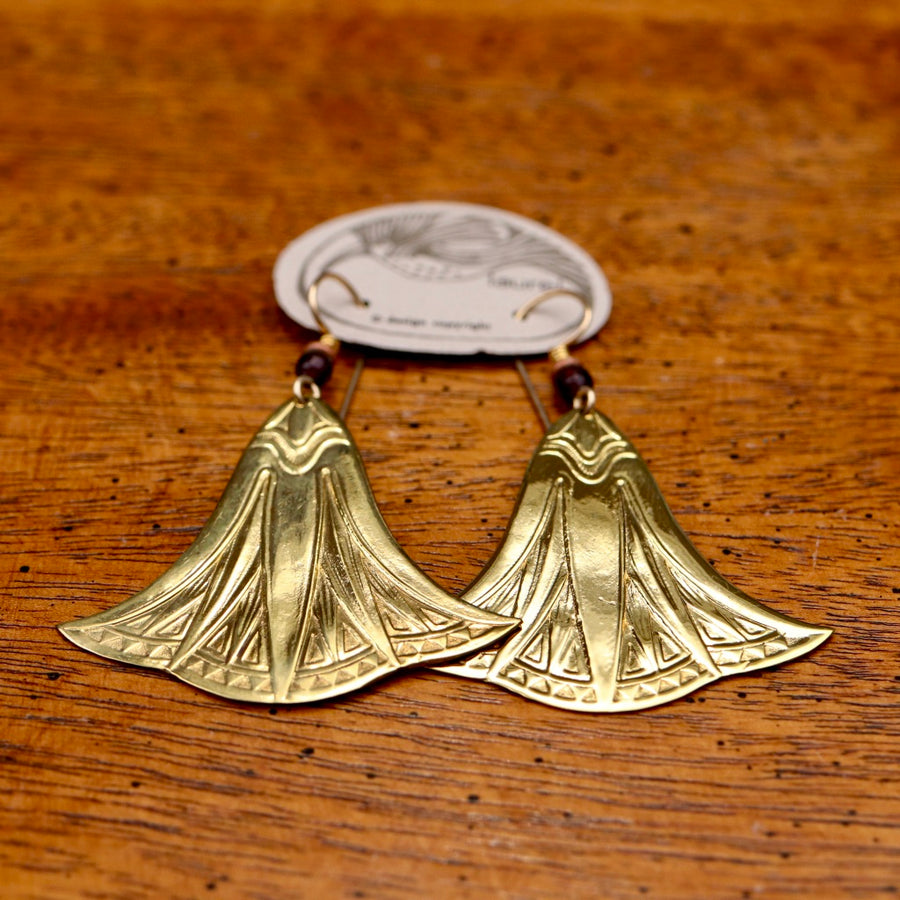 Vintage Laurel Burch Large Papyrus Gold-Plate Earrings