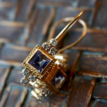 Morgan Le Fay 14k Gold, Tanzanite and Diamond Earrings