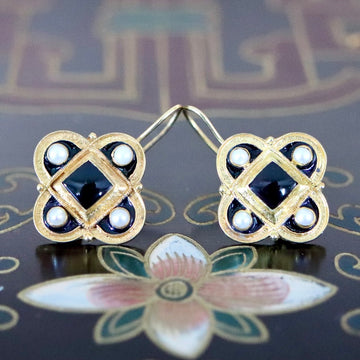 Orleans 14k Gold, Onyx and Pearl Earrings