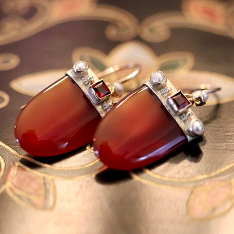 Monaco Earrings: Carnelian, Garnet, Pearls and 14k Gold