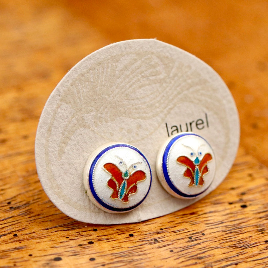 Vintage Laurel Burch Butterfly White Gold-Vermeil Button Studs