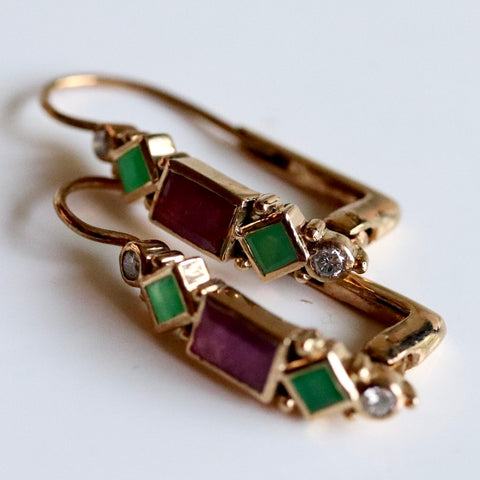 Gold Garnet & Emerald Diamond Renaissance Earrings