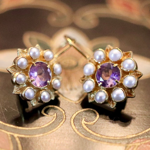 Astrophel Amethyst, Pearl & Gold Earrings