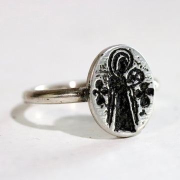 Virgin and Child Byzantine Ring - Silver