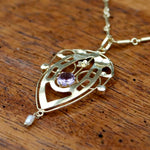 Lyrical Shield Amethyst Necklace