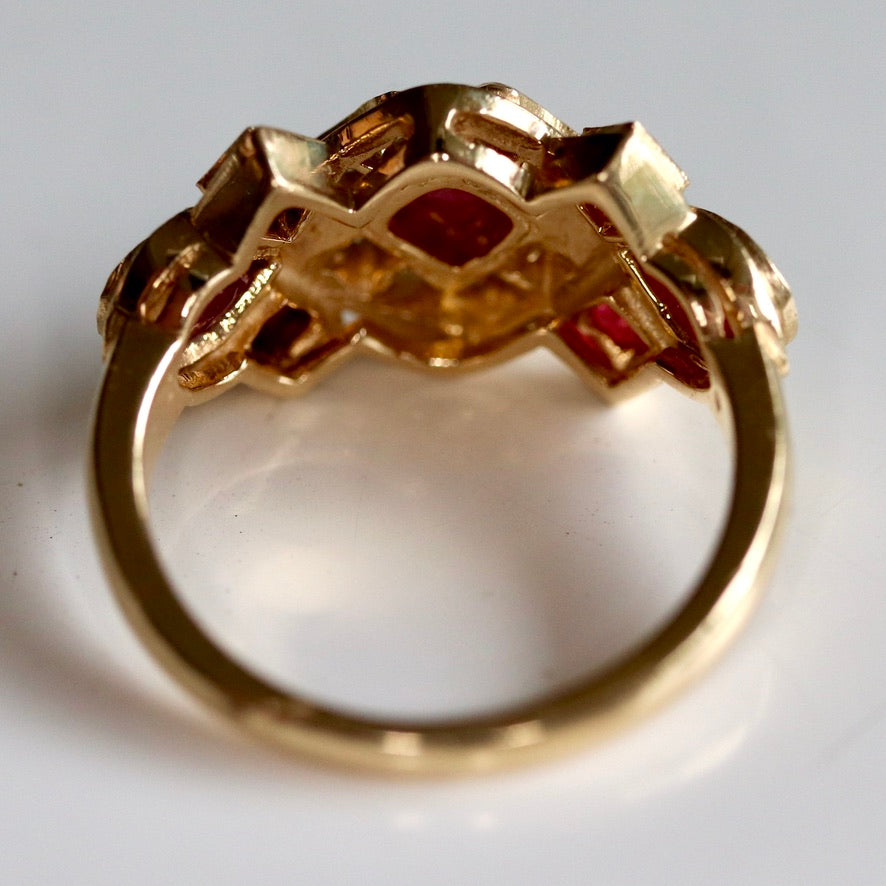 Grand Central 14k Gold, Ruby and Diamond Ring