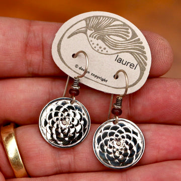 Vintage Laurel Burch Lotus Flower Silver-Plate Earrings
