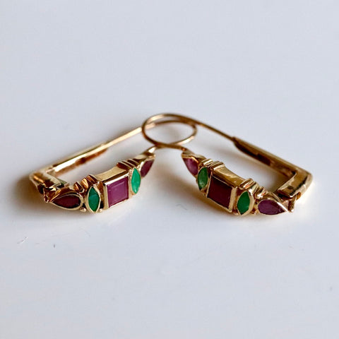 Gold Ruby, Emerald and Garnet Earrings