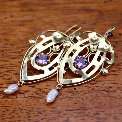 Lyrical Shield Amethyst Art Nouveau Earrings