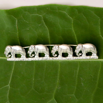 The Elephants Go Marching Silver Brooch