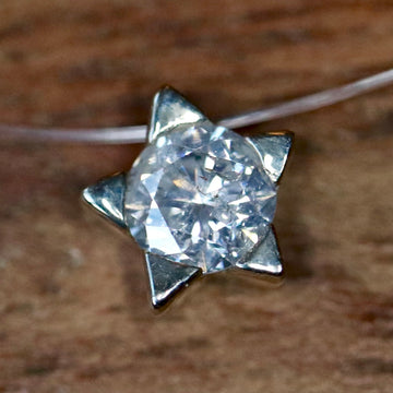 Starburst 14k White Gold and Diamond Necklace