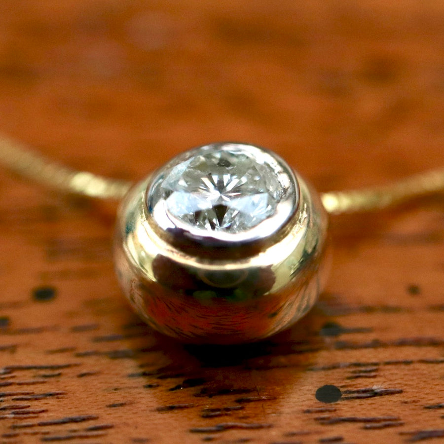 Globe 14k Gold and Diamond Necklace