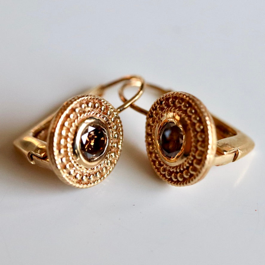 Dauphine 14k Gold and Diamond Earrings