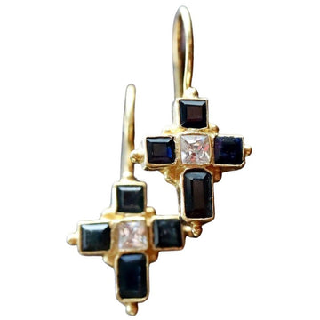 St. Albans Cross Sapphire Earrings