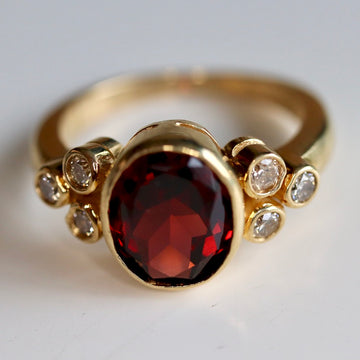 Henry VII 14k Gold, Garnet and Diamond Ring