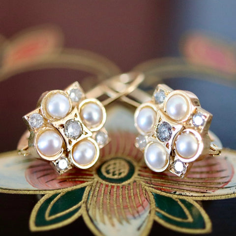 14k Somerset Pearl and Diamond Earrings