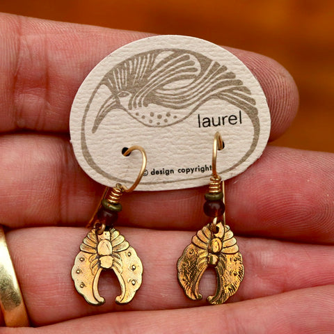 Vintage Laurel Burch Chrysalis Gold-Plate Earrings