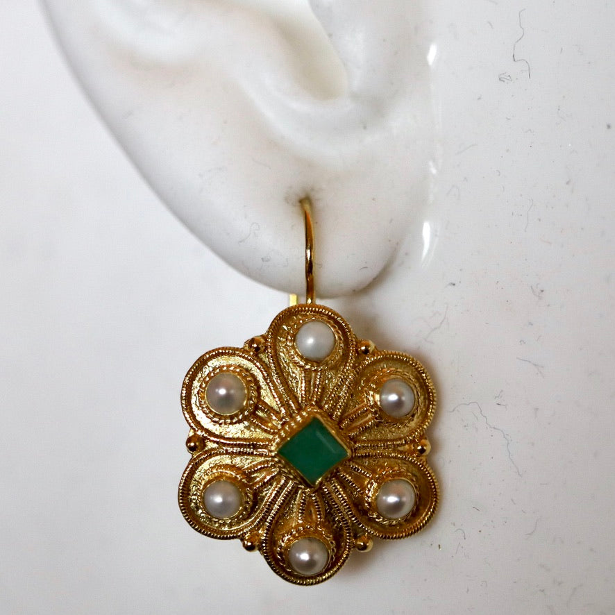 Elizabeth Gaskell 14k Gold, Emerald and Pearl Earrings