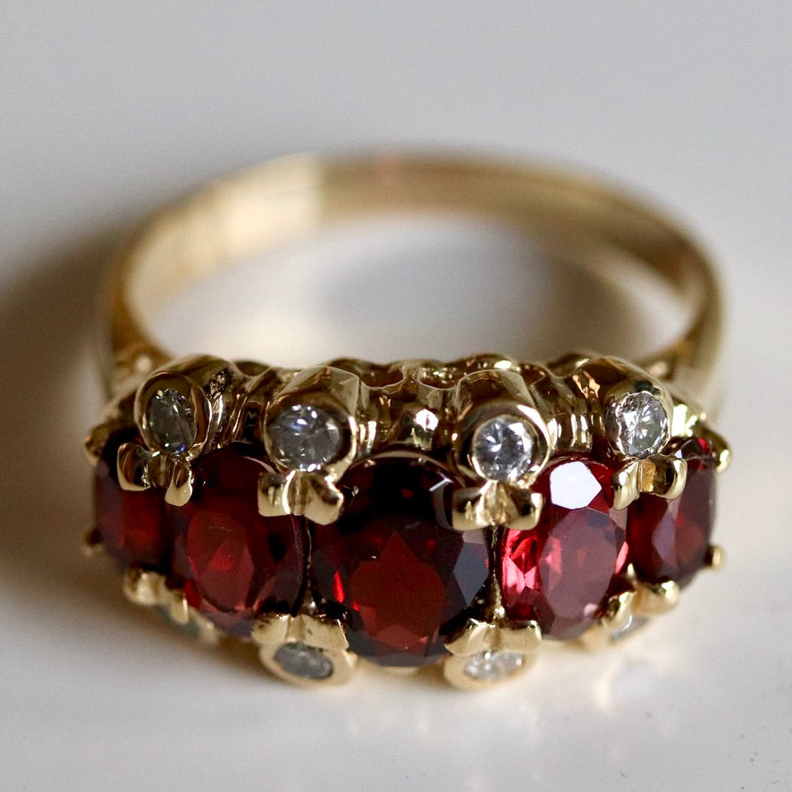 Westminster 14k Gold, Garnet and Diamond Ring