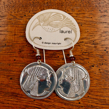 Vintage Laurel Burch Isis Rounds Silver-Plate Earrings
