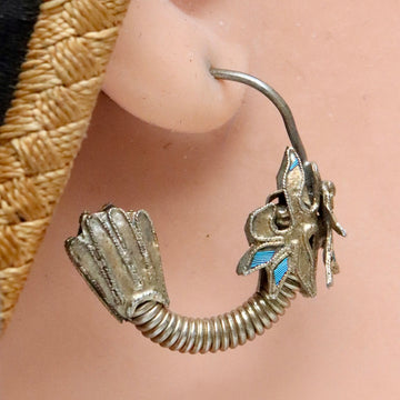 Antique Qing Dynasty Tian-Tsui Dragon Hoop Earrings