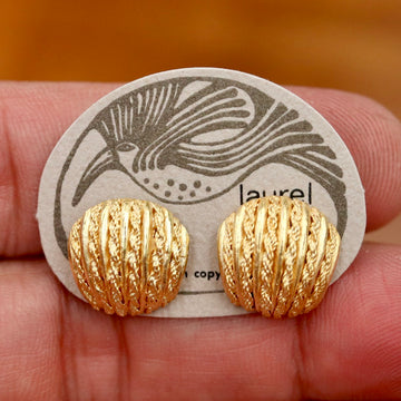 Vintage Laurel Inc. Abstract Shells Gold-Plate Studs