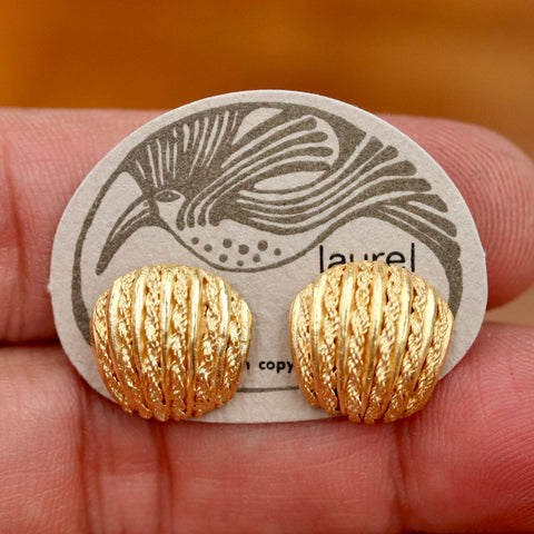 Vintage Laurel Burch Abstract Shells Gold-Plate Studs