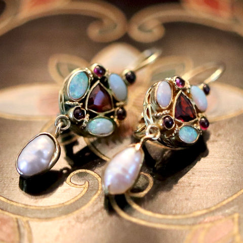 14k Lady Anne Garnet, Opal and Pearl Earrings