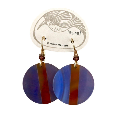 Vintage Laurel Burch Blue Lucite Round Gold-Plate Dangles