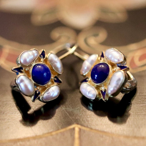 14k Tudor Lapis and Pearl Earrings
