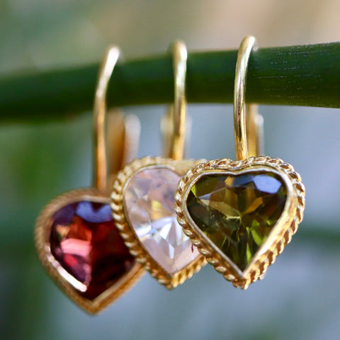 Victorian Heart Garnet Earrings