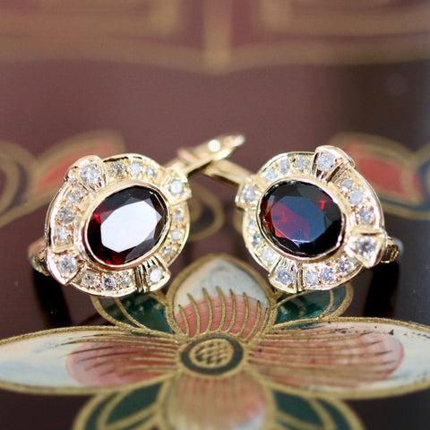 Covent Garden Earrings: Diamonds, Garnet and 14k Gold
