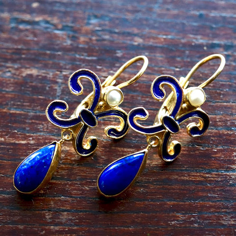 Florentine Lapis Earrings
