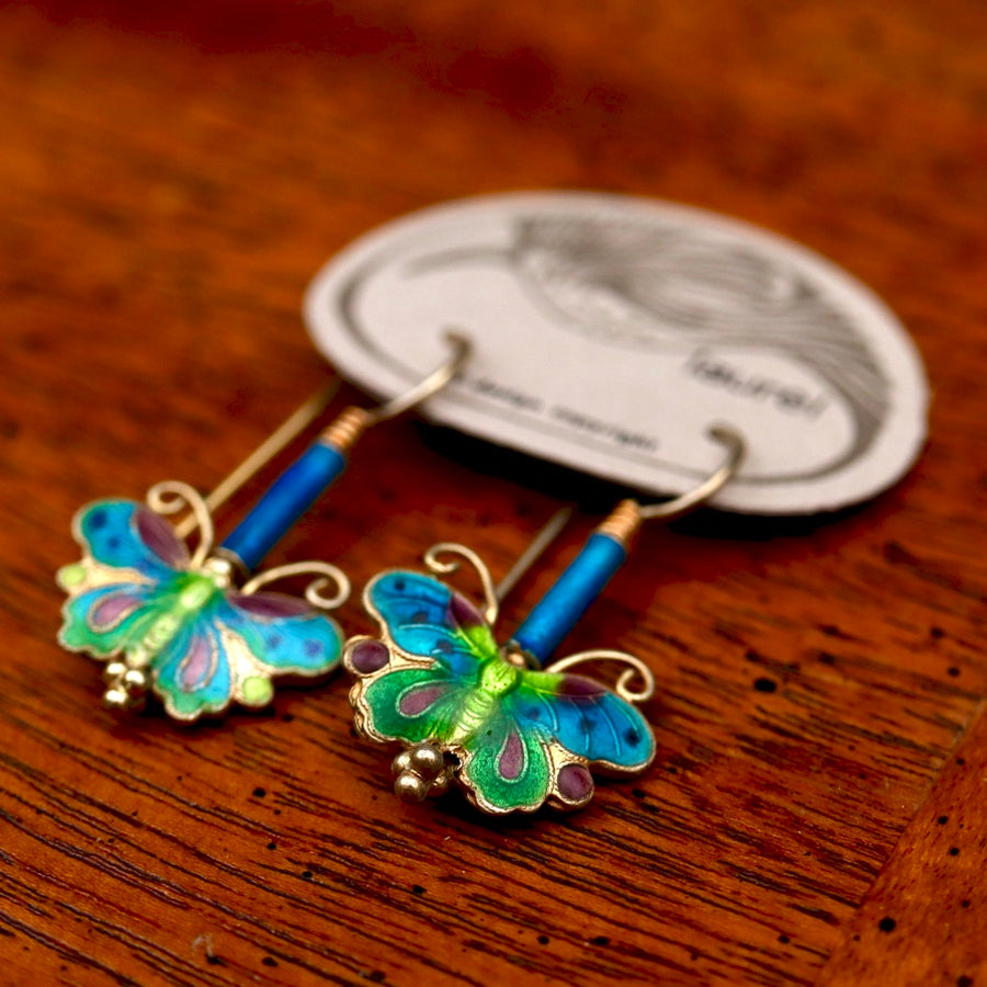Vintage Laurel Burch Turquoise Butterfly Gold-Vermeil Earrings