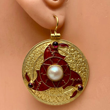 Sutton Hoo Triskelion Pearl and Garnet Earrings