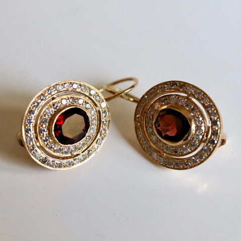 14k Garnet and Diamond Earrings