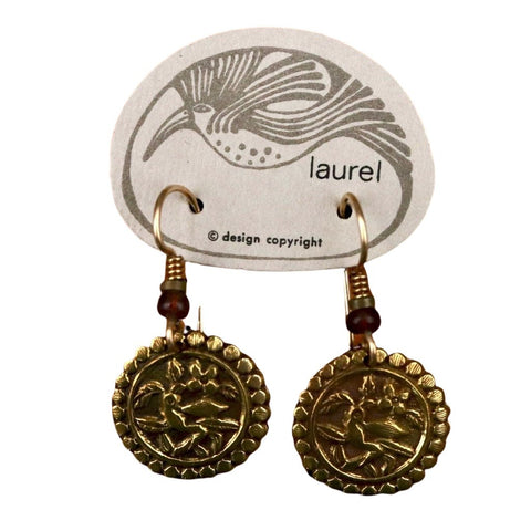 Vintage Laurel Burch Parrot Gold-Plate Earrings