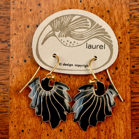 Vintage Laurel Inc Feather Gold-Vermeil Dangles