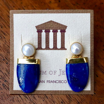 Lapis Shield Deco Earrings