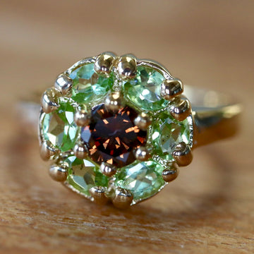 Connemara 14k Gold, Peridot and Cognac Diamond Ring