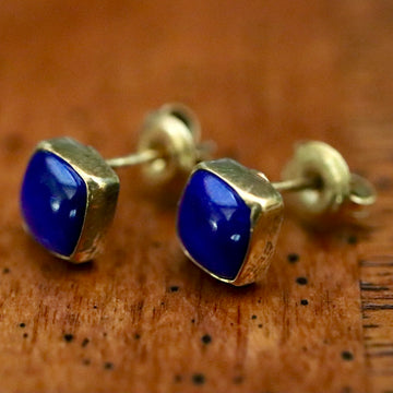 Square Stud Lapis Earrings