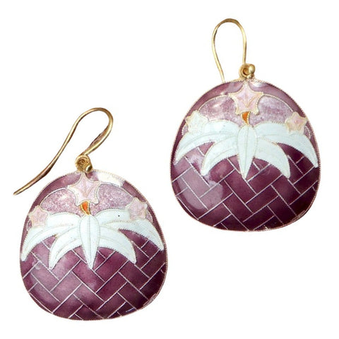 Vintage Shashi Lily Purple and Eggshell Earrings