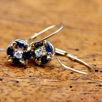 Firmament 14k Gold, Sapphire and Diamond Earrings