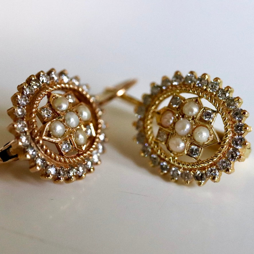 East India 14k Gold, Diamond and Pearl Earrings