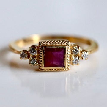 Dorothy 14k Gold, Ruby and Diamond Ring